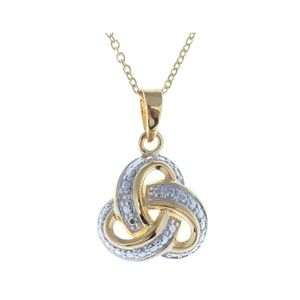 Sterling Silver Diamond Love Knot Necklace